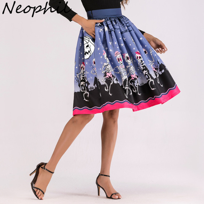 f6f26bbf1e2 Neophil 2019 Winter Gothic Style Women Midi Skater Skirts Halloween Pattern  Pleated Print Mid-Calf