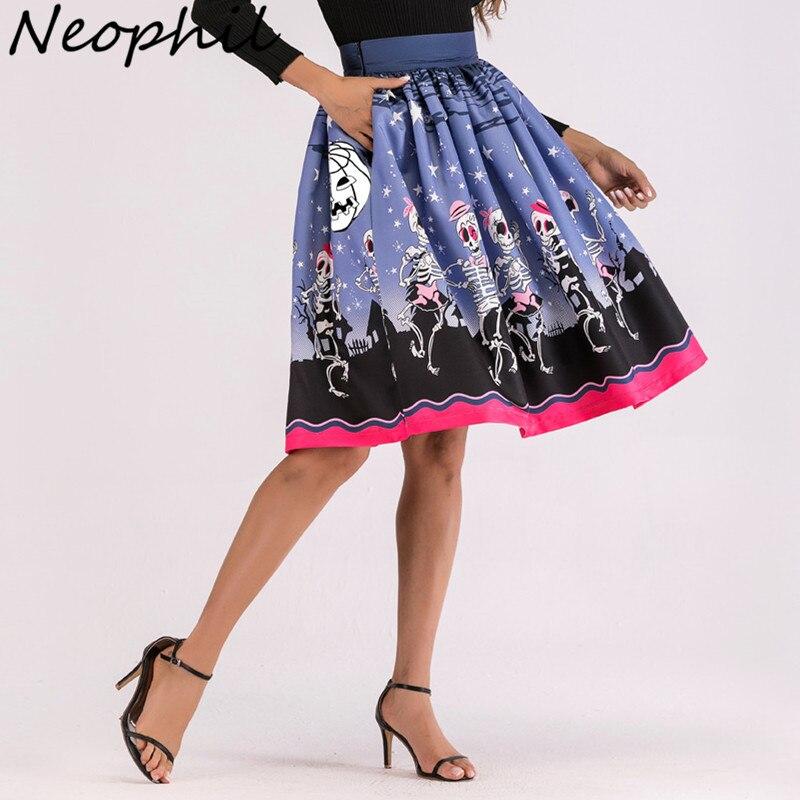 Neophil 2019 Winter Gothic Style Women Midi Skater Skirts Halloween Pattern Pleated Print Mid-Calf Female Skirt Jupe Femme S1914