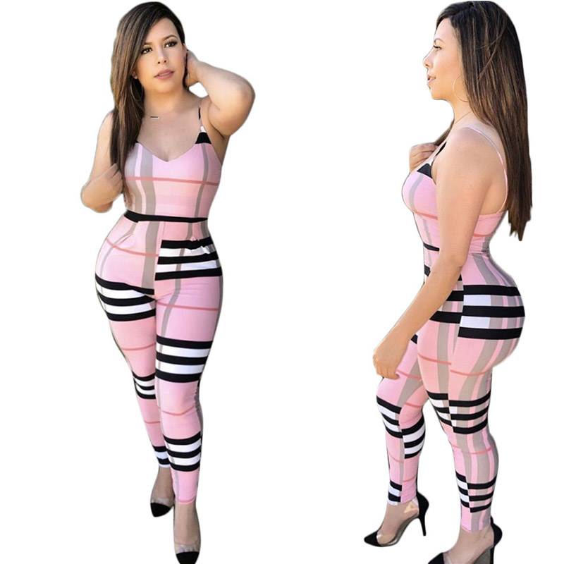 Plaid Jumpsuits for Women 2018 Sexy V-neck Sleeveless Spaghetti Straps Ladies Slim Bodycon Long Rompers Combinaison Femme