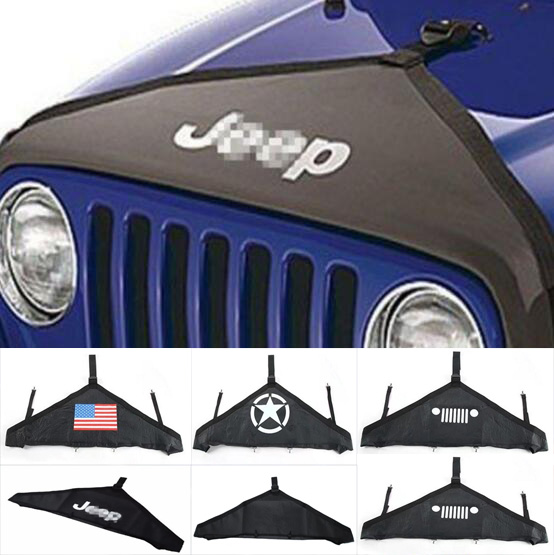 Newest Hood Cover Front End Bra Protector V-Hood Vinyl Black (1 Pc) For Jeep Wrangler JK 07 Up Rubicon Sahara - Free Shipping