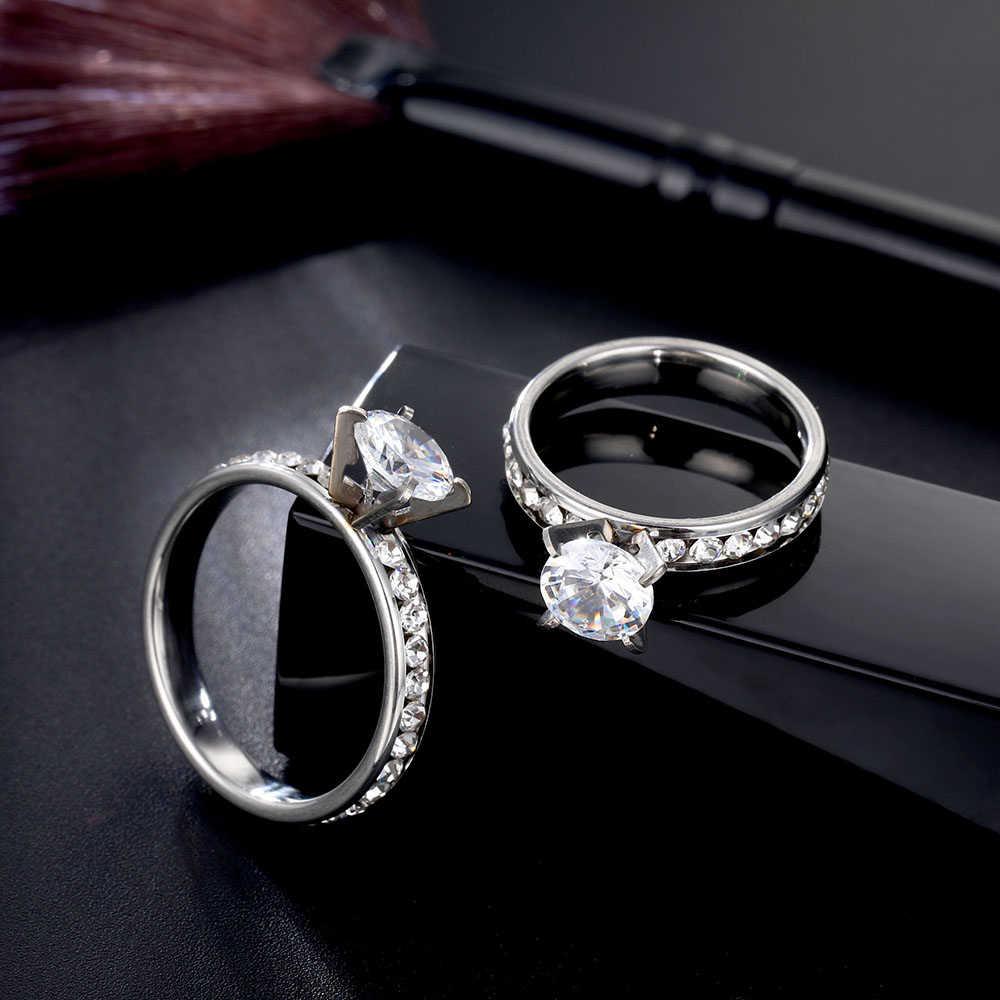 Anneaux en acier inoxydable titane pour femmes couleur argent 8 mm zircone anneaux de mariage petit CZ Surround bijoux de mode en gros