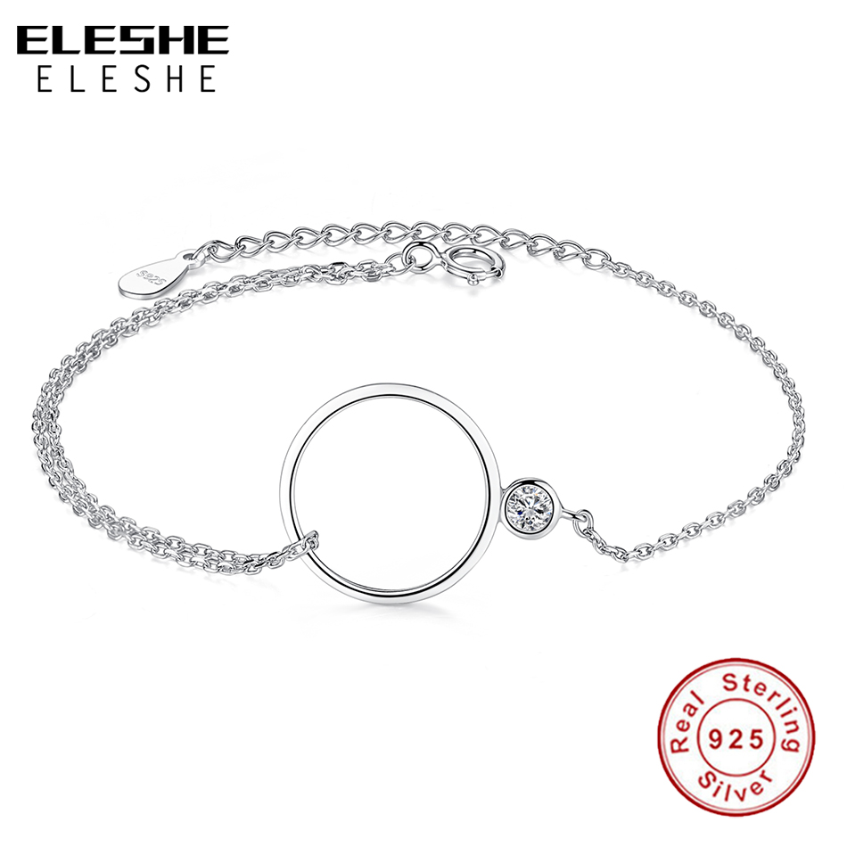 ELESHE 100% 925 Sterling Silver Circles Bracelet & Bangles for Woman Rhinestone Round Layer Round Female Bracelets