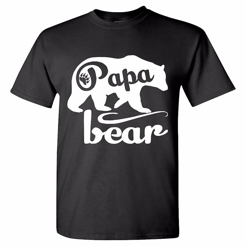 Cool T Shirt Designs Novelty Short Papa Bear T-Shirts Fathers Day Shirt Papa Tshirt Father Day Gift O-Neck Tees For Men