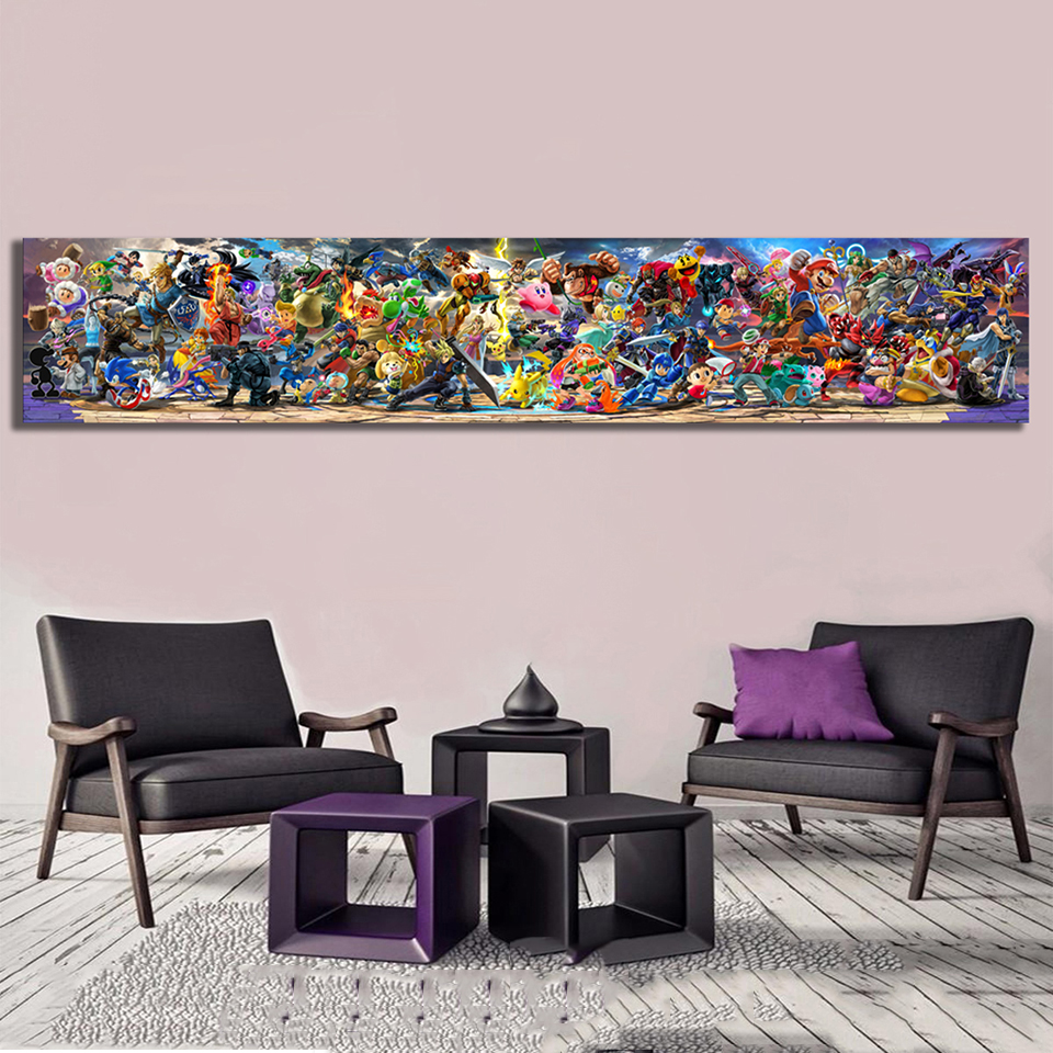 Wall Art Prints Modular Picture 1 Pcs Super Smash Bros Ultimate Update Video Game Cartoon Canvas Painting Home Decor Poster Room