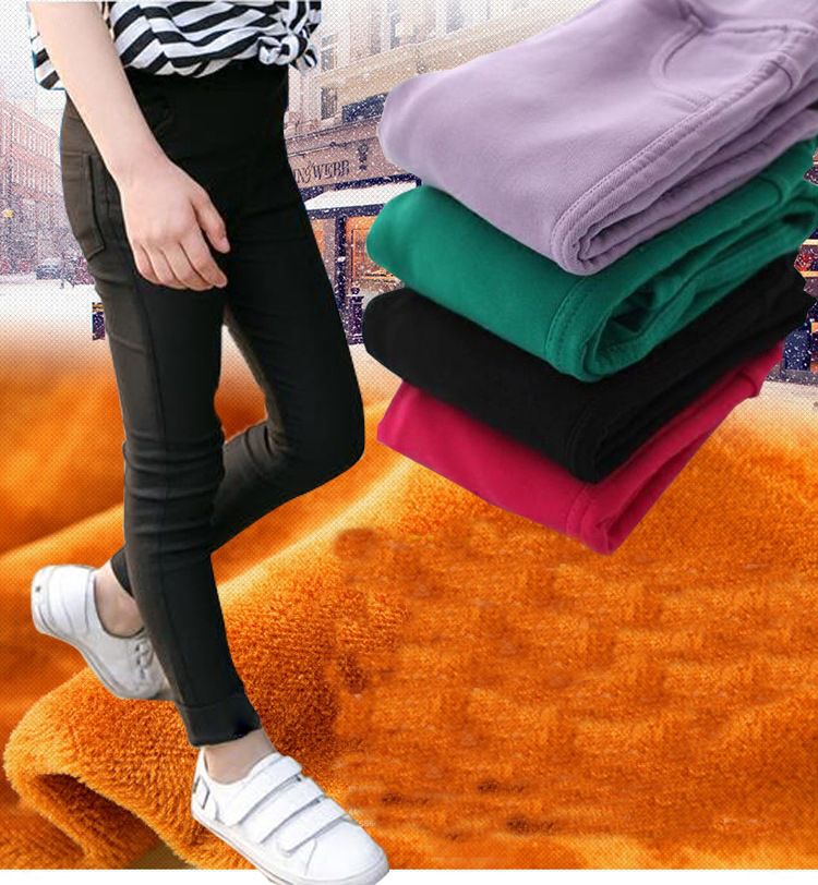 Girls Leggings Autumn Winter Velour Thick Long Pants Stretch Skinny Cotton Fleece Pants for Girl Jeans Candy Color Kids Trousers girl