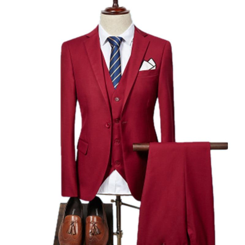 Anzüge Jacke Hose Weste/2019 Mode Männer Business Anzüge Drei Stück Sets/männer Hochzeit Kleid Anzug Blazer Mantel Hose Weste