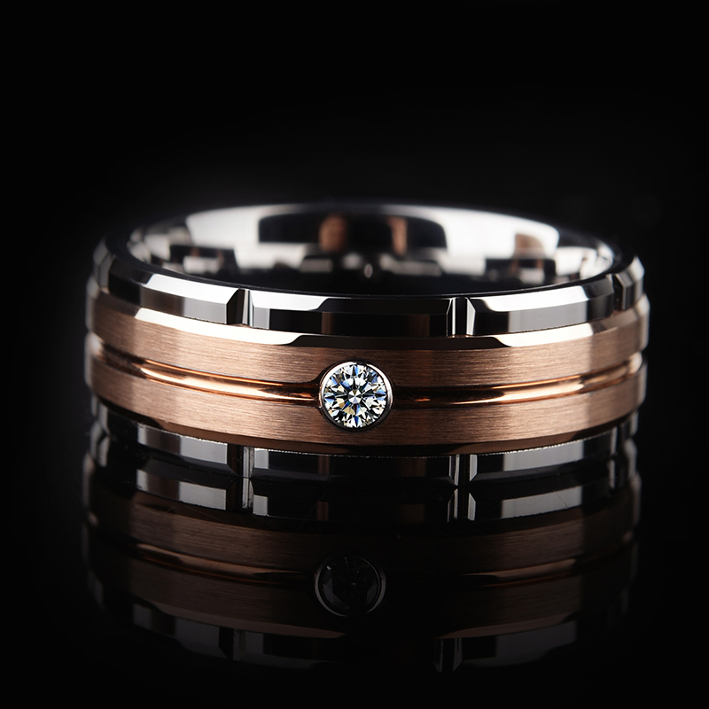 Hot Selling 8mm Tungsten Wedding Band Rings for Man Woman Rose-Gold Plating Brushed Finishing with White Cubic Zirconia Stone
