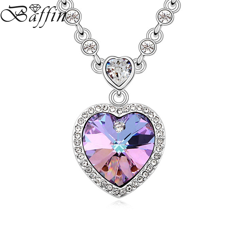 BAFFIN Maxi Heart Pendant Necklace With Beads Chain Crystal from Swarovski For Women Gifts Statement Jewelry baffin crystals pave jewelry sets round pendant necklace maxi rings luxury accessories for women made with swarovski elements
