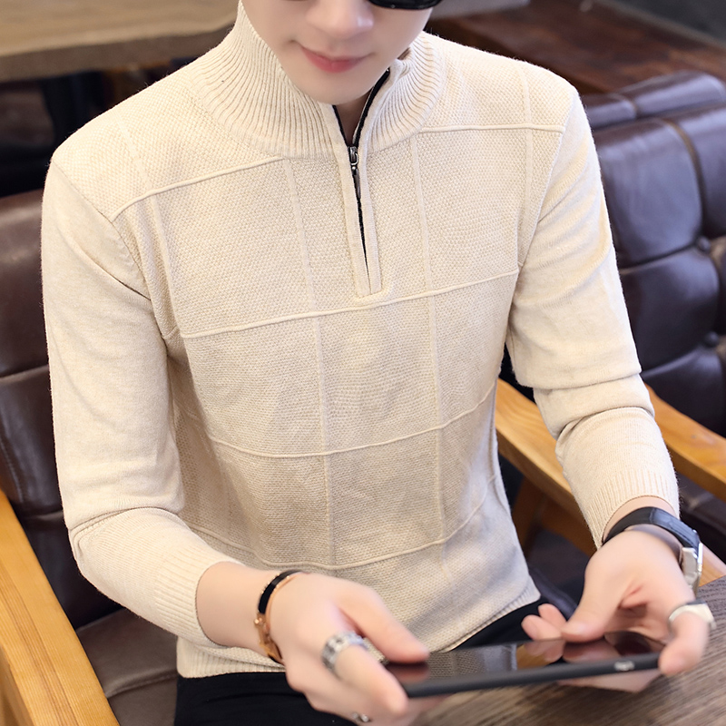 Spring, Autumn And Winter Men's Fashion Turtleneck Sweater Men's Youth Solid Color Sweater Slim Sleeve Zipper Sweater