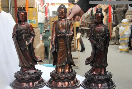 bi001870 18 Tibet Red Copper Three Saints of the West Kwan-Yin Guan yin Buddha Statue Setbi001870 18 Tibet Red Copper Three Saints of the West Kwan-Yin Guan yin Buddha Statue Set