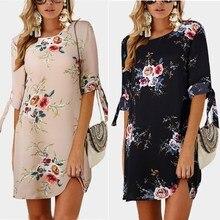 2018 Summer Beach Dresses Women Chiffon Dress Casual Bow Tie Half Sleeve Floral Print Mini Tunic Plus Size 5XL Party Vestidos