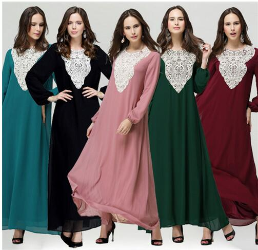 Muslim Abaya Islamic Clothes For Women Muslim M L  Long Sleeve Maxi Dress Women Bodycon Muslim Dress
