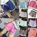 Nueva Moda de Verano Mujeres de La Cintura Elástico Túnica Cordón Elegante Bolsillo Puños Cortocircuitos Ocasionales de la Playa