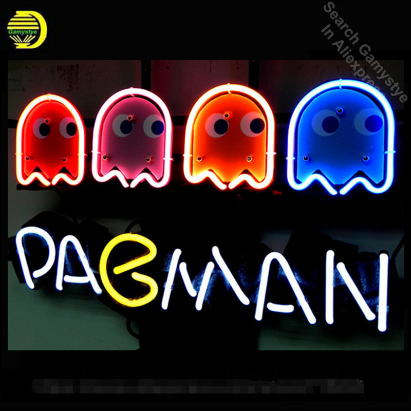 NEON SIGN For PACMAN GAME Signboard REAL GLASS BEER BAR PUB display RESTAURANT outdoor Light Signs 17*14 custom made neon signs
