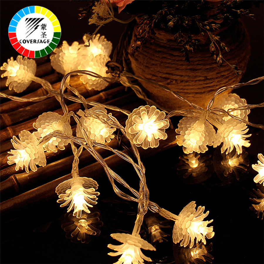 Coversage 2M 20 Leds Fairy Battery Garland Flower String Lights Christmas Tree Decoration Outdoor Indoor Curtain Luces Navidad