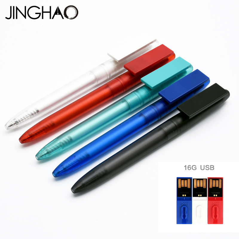 Jinghao KACO INFO Series Kawaii Transparent Gel Pen with 16G USB Disk Multifunction Gel Pens for Student School Supplies 1pc kaco cyber dual purpose rollerball pen with 16g usb disk creative metal gift pens for student school and office supplies