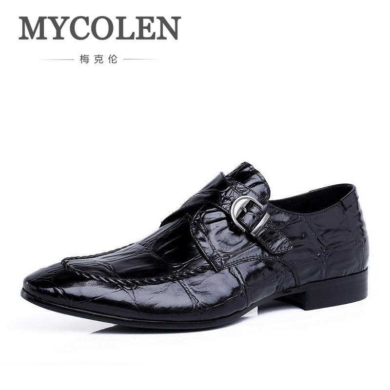 MYCOLEN Italy Fashion Design Buckle Genuine Leather Shoes Men Flats Party Wedding Business Men Loafers Sapatos Masculino Couro men loafers paint and rivet design simple eye catching is your good choice in party time wedding and party shoes men flats
