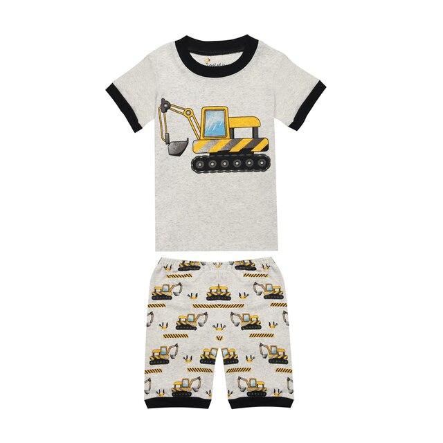 691de161b Boys Excavator Pajamas Summer Kids Pajama Boys Summer Pajamas Crane ...