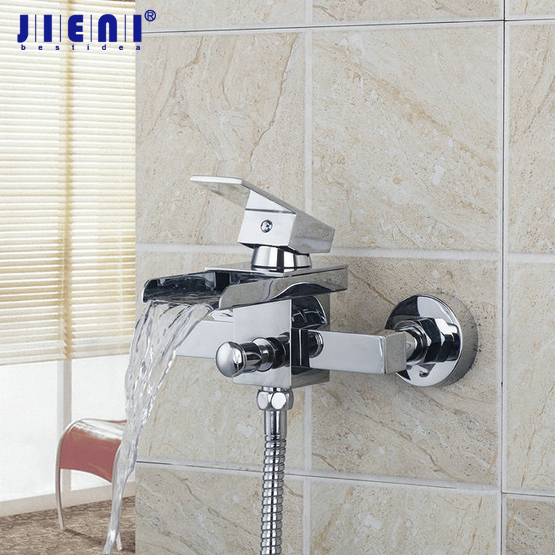 Solid Brass Wide Spout With Handle Shower Bathroom Wall Mounted Bath Tap Mixer Waterfall Bathtub Faucet