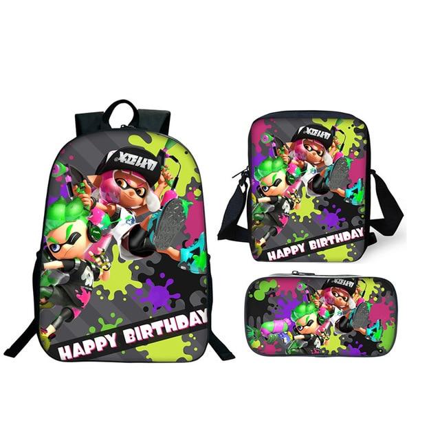 Nouveau 3 pièces/ensemble plus moins cher sacs d'école Splatoon 2 sacs à dos garçon filles décontracté jeu imprimé sacs à dos ensembles sac Splatoon cadeau d'école