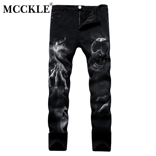 שחור גולגולת 3D הדפסת גברים של ג 'ינס ג' ינס מכנסיים ארוך קלאסי Slim Fit מכנסיים עבור Mens 2019 קיץ Streetwear כיס זכר בגדים