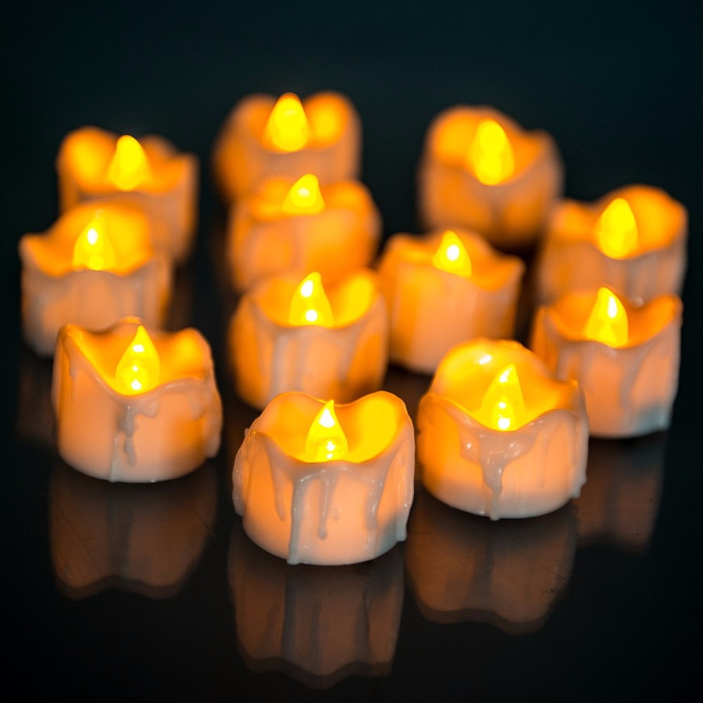 Yellow Flicker With Battery Candles Plastic Led Candles