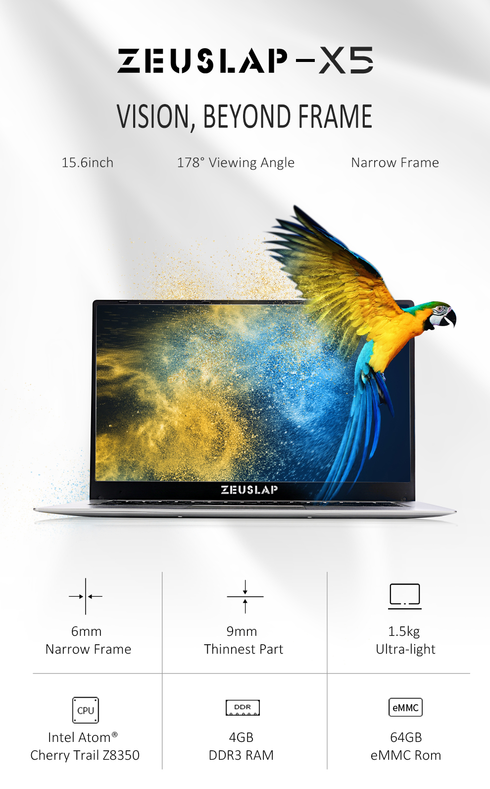 ZEUSLAP 15.6inch Intel Quad Core CPU 4GB Ram 64GB EMMC Windows 10 System 19*1080P IPS Screen Netbook Laptop Notebook Computer 2