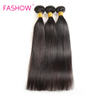 Fashow 3 Bundles Brazilian Straight Hair 100 Human Hair Extensions Double Weft Non Remy Hair 12