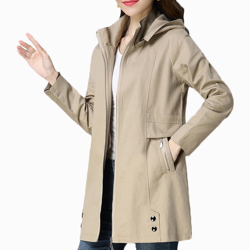 Spring Trench Coat Woman 2020 Autumn Casual Loose Windbreakers Womens Hooded Outwear Coats Plus Size Female Long Slim Overcoat