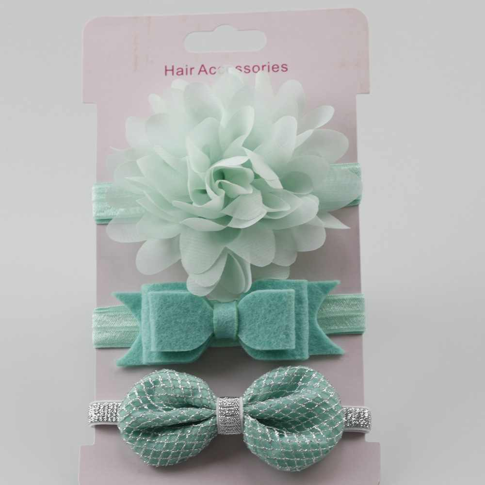 3Pcs תינוק אלסטי פרח סרטי מצח סרט שיער בנות Bebe Bowknot גומייה לשיער לפעוטות תינוקות אביזרי סט צילום אבזרי