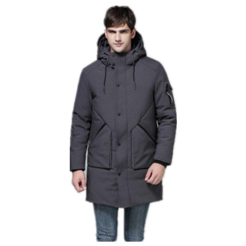 2017 Fashion Wintetr Mens Parkas Hooded Thick Gray Black Brand Clothing Man's Slim Fit Warm Clothes