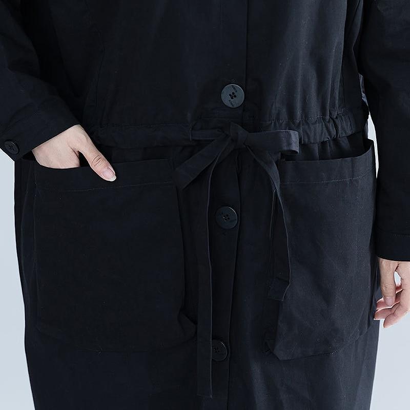 ewq Hiver Capuche De Manches Long Bouton À Mode 2018 Nouveau Automne Cordon Complète Occasionnel Col Marée Black Ob529 Lâche Femmes Manteau SZXwSrq
