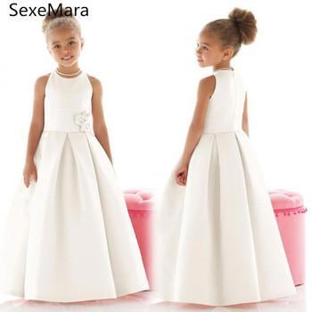 New Ivory White First Communion Dress for Girls O Neck Satin Ankle Length Kids Birthday Gown Flower Girl Dress Pageant Gown