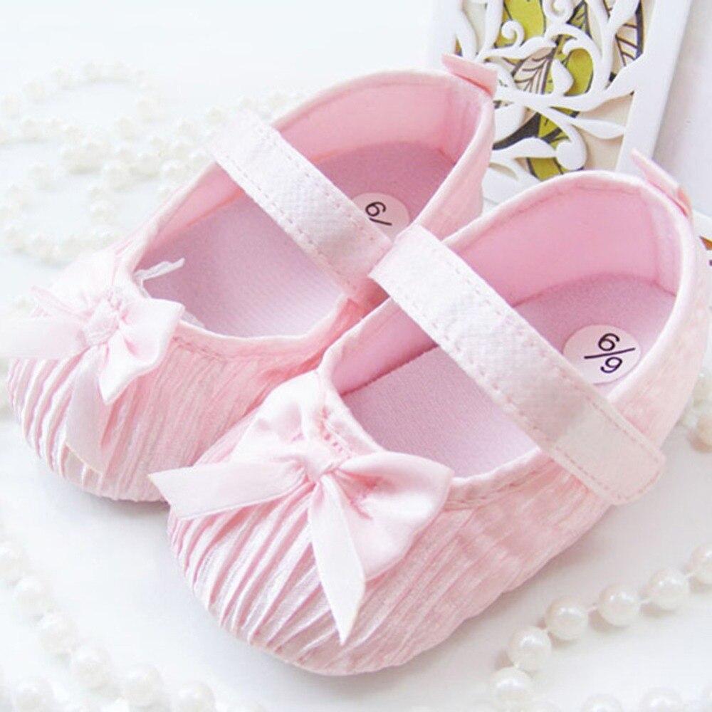Newest Baby Princess First Walker Crib Shoes Infant Toddler Girls Soft Prewalker 0-18M