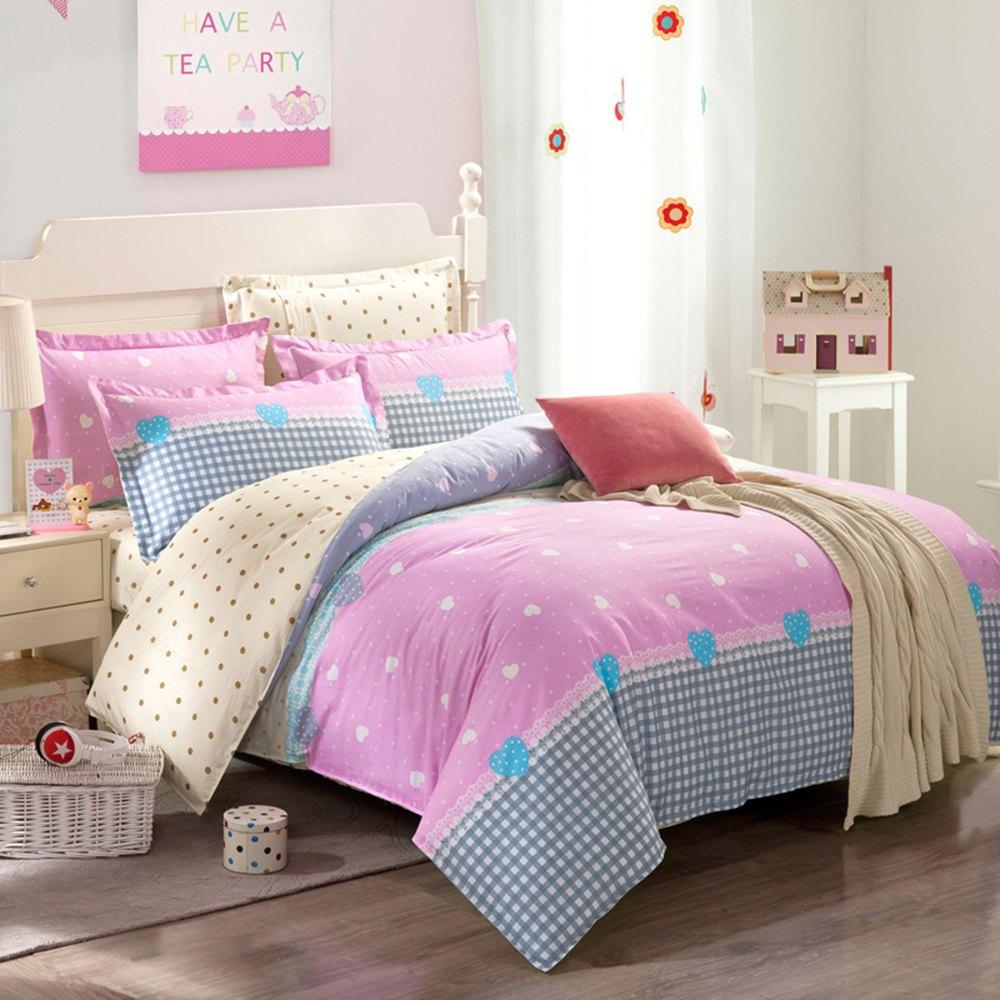 newest colormix bedroom comfortable bedsheet 200 x 230cm 4 piece bedding set fresh elegant flower design - Twin Bedroom Sets For Adults
