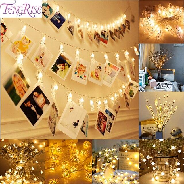 FENGRISE de 10 pc foto Clip Led luces decoración de la boda de fiesta de Navidad decoraciones de fiestas de eventos de la boda fiesta Decoración de casa