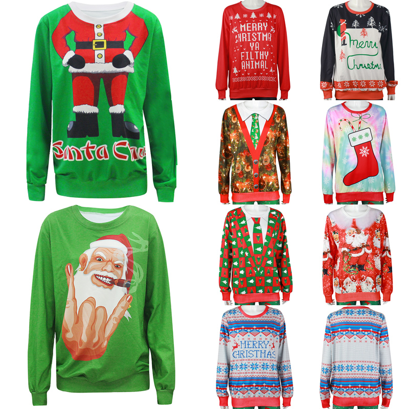 2018 Ugly Christmas Sweater Unisex Men Women Vacation Santa Elf Pullover Funny Womens Men Sweaters Tops Autumn Winter Clothing