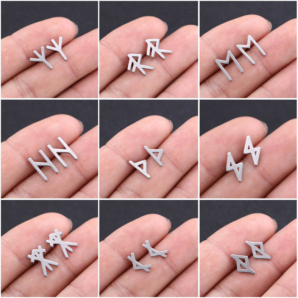 LIKGREAT Stainless Steel Earrings for Women Men Viking Runes Stud Earrings Vintage Jewelry Scandinavian Nordic Ear Accessories