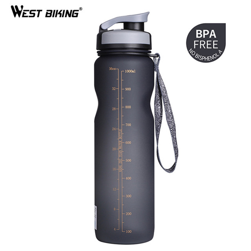 WEST BIKING 1000ML Bicycle Water Bottle Outdoor Drink Leak-proof Cup For Cycling Bike Outdoor Drink Sport Bottle 3 Colors eyki h5018 high quality leak proof bottle w filter strap gray 400ml