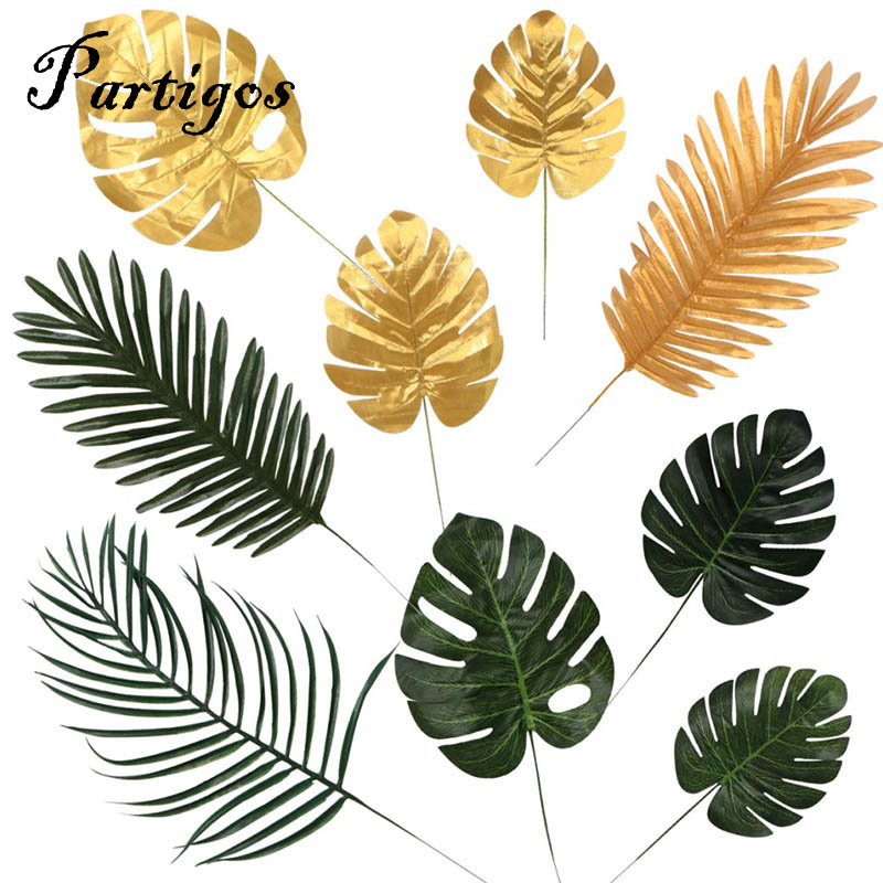 5pcs Gold Green High-Quality Fake Leaf Artificial Tropical Palm Leaves DIY Plant Home Party Wedding Table Desk Decoration Supply