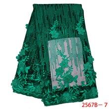 أحدث أقمشة الدانتيل الأفريقي الأخضر 2020 أقمشة دانتيل مطرزة بالخرز زهور ثلاثية الأبعاد دانتيل شبكي لحفلات الزفاف APW2567B 3