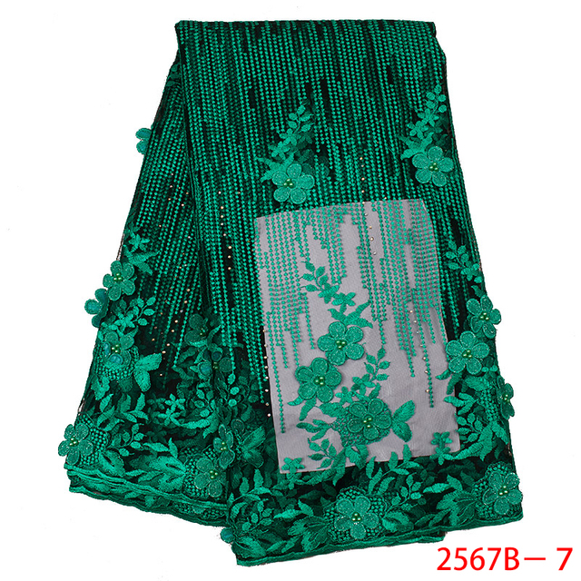 Latest Green African Lace Fabric 2020 Popular Beaded Tulle Lace Fabrics 3D Flowers Net Lace for Wedding Party Dress APW2567B 3