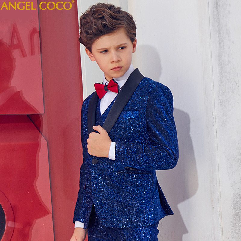 Boys Bright Shiny Dress Spring Autumn Boys Suits Catwalk Piano Costume Garcon Children Boys Suits For Weddings Boys Prom Suits elk print pattern boys clothing blazer catwalk children s piano costumes hosted clothes thick winter boys suits for weddings set