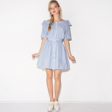 HDY Haoduoyi 2019 Womens Summer Fresh Sweet Style Striped Print Dress Off Shoulder Mini Party