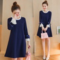 Maternity dress autumn fashion Bowknot is pregnant women dress