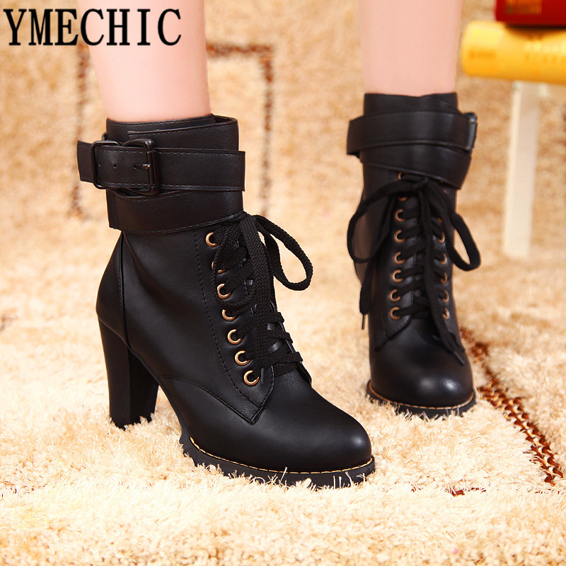 Combat Military Ankle Boots Buckle Strap Spike Lace up High Heels Womens Shoes