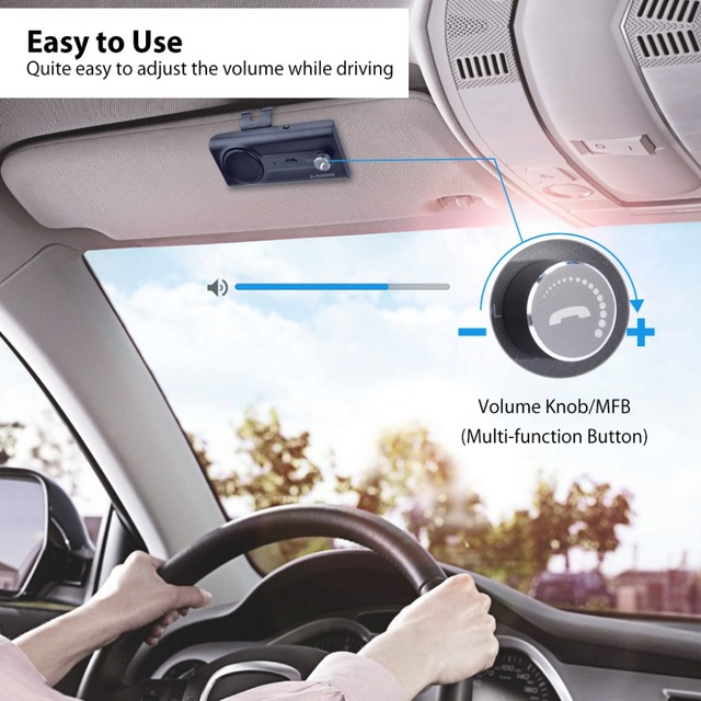 2018NEW Bluetooth Handsfree Visor Car Kit with Siri, Google Assistant Voice Command, Auto Power On Wireless In Car  speakerphone 4