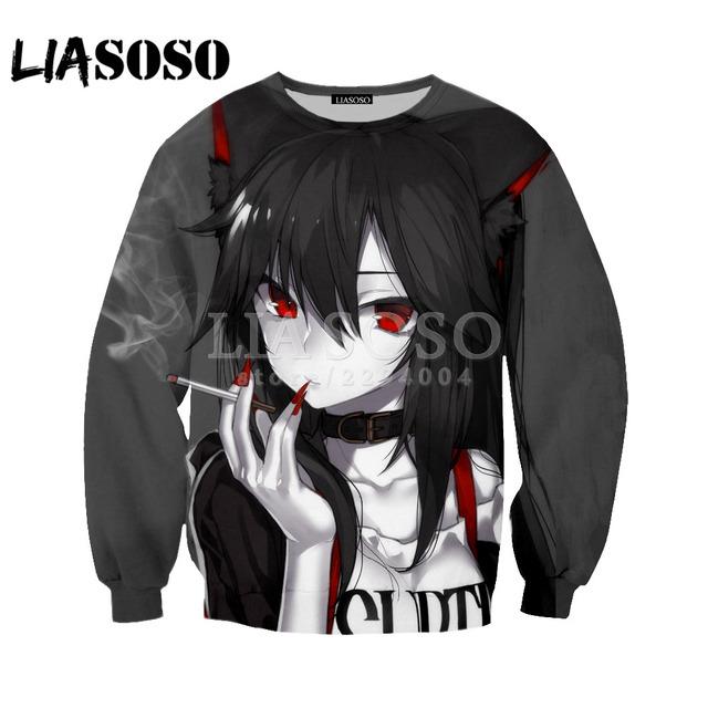 LIASOSO Ahegao 3D Print Sweatshirt Men Women Harajuku Hoodies Face Red Pullovers Shy Girl Sexy Long Sleeve Outerwear Y048