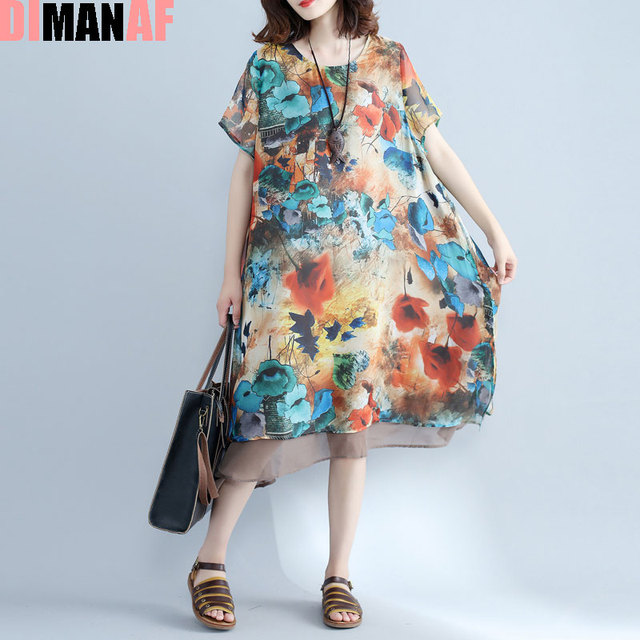 DIMANAF Women Dress Plus Size Summer Beach Dresses Chiffon Floral ...
