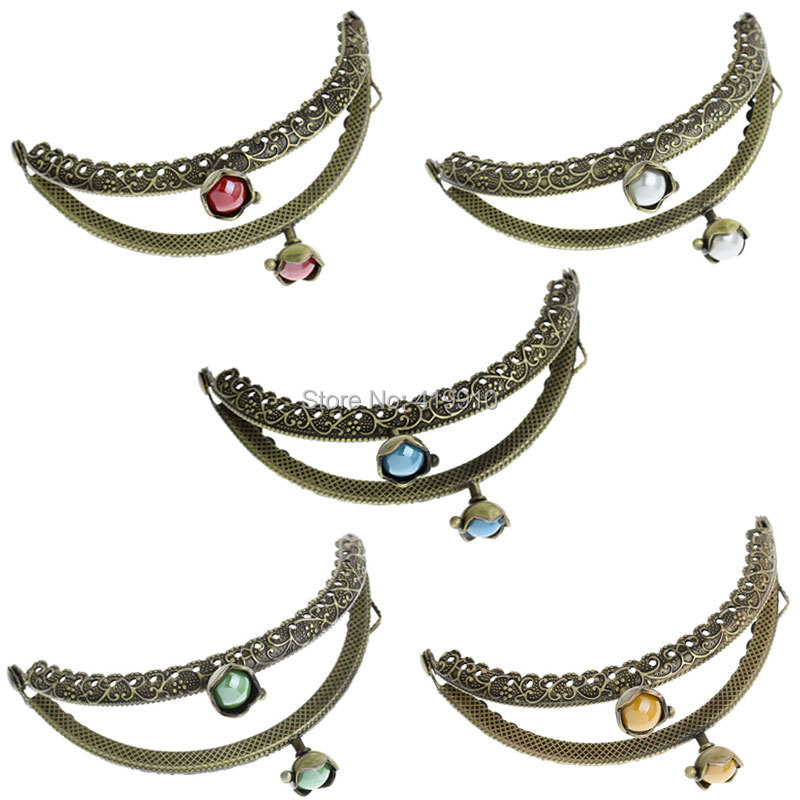 Home & Garden 5pc Metal Frame Kiss Clasp Arch For Purse Bag Lock Handle Antique Bronze Mixed Ab Color Resin Ball Flower Pattern 13x7cm,j2622 Arts,crafts & Sewing